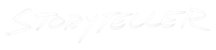 white storyteller logotype